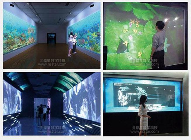 墙面互动投影系统可以展示丰富的内容,有图片,文字,影音等,尤其图片